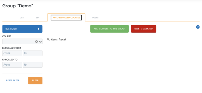 Groups Auto enroll page